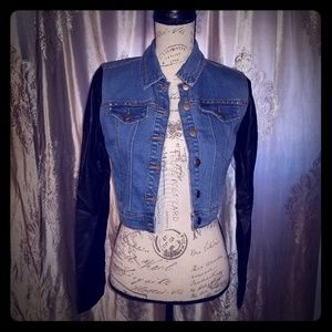 Jean jacket, with pleather black sleeves